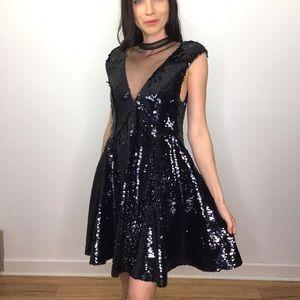 Free People Black Sequin Fit Flare Mini Dress NWT